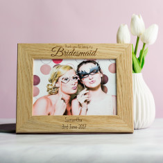 Personalised Thank You For Being My Bridesmaid Photo Frame