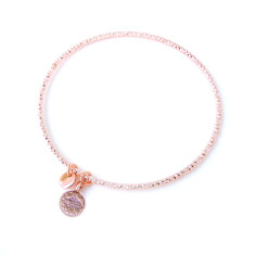 Diamond cut rose gold stacking bangle with tiny Ottoman charm and tag