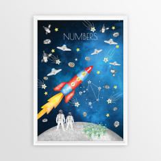 Watercolour Space Numbers Educational Print