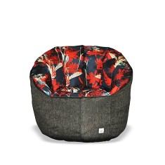 BBBYO Luxury linen armchair beanbag - red butterfly print