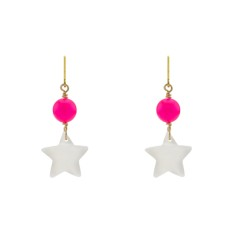 Pink neon star earrings