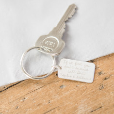 Personalised sterling silver dog tag key ring