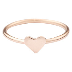 Solid gold heart stackable ring