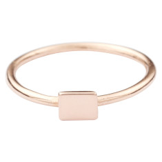 Solid gold rectangle stackable ring
