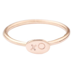 Solid-gold xo stackable ring