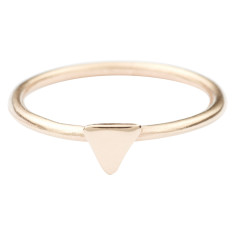 Solid gold triangle stackable ring