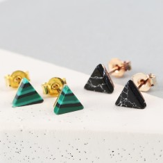 Marble Triangle Stud Earrings