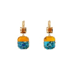 Marbled blue and golden stone clip-on earrings