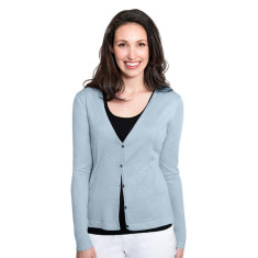 Silk Cashmere Cardigan with Pointelle Detail - Alice Blue