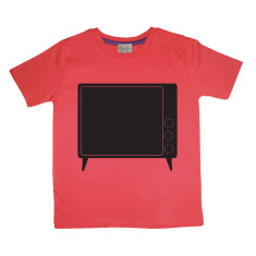Kids' chalkboard t-shirt in television design