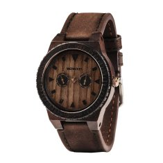 Leo Chocolate Leather Wood Watch