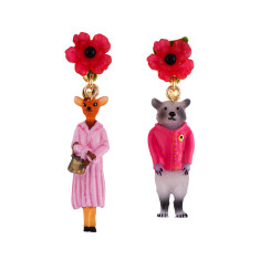 Hind In Her Sunday Best And Raccoon Wearing Red Pullover Earrings