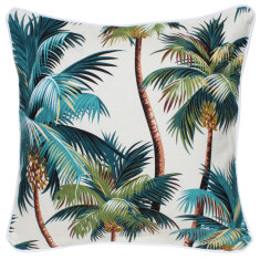Oasis cushion in palm trees cream fabric