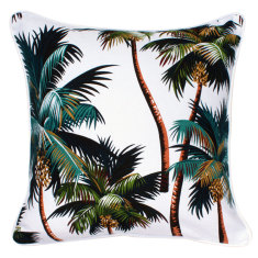 Oasis cushion in palm trees white fabric