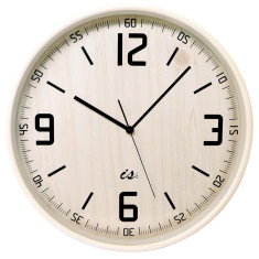 White bass wood wall clock