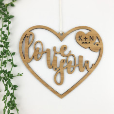 Love You personalised bamboo wall hanging