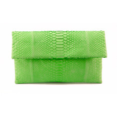 Lime green python leather classic foldover clutch