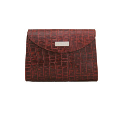 Leather Cordoba mini clutch handbag with brushed suede lining