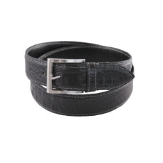 Black croc men's stitched leather belt