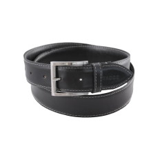 Smooth black men's stitched leather belt