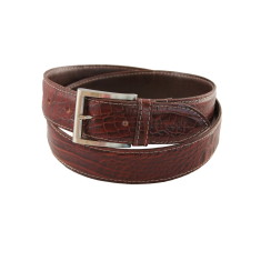 Choc croc men's stitched leather belt