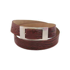 Luxury choc croc ladies suede lined leather belt