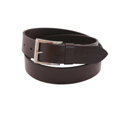 Chocolate brown plain leather men's belt