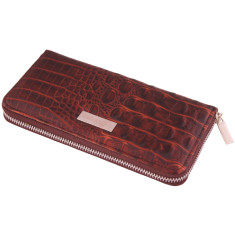 Luxury leather zip-round ladies wallet