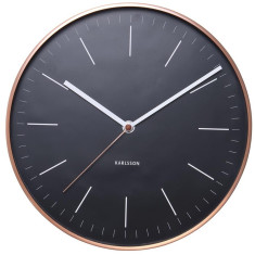 Copper-plated station-style wall clock with black dial