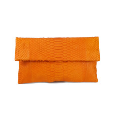 Mandarin python leather classic foldover clutch