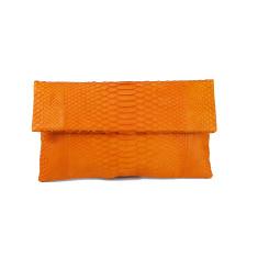 Mandarin python leather classic foldover clutch