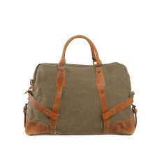Canvas Travel Duffle Bag With Leather Handle Green