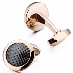 Textured Black and Rose Gold Cufflinks