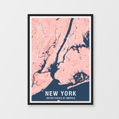 New York two-tone map print (various colours)