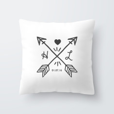 Couples Initial Personalised Throw Pillow