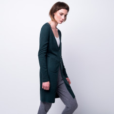 Cashmere breeze long cardi in Forest Green