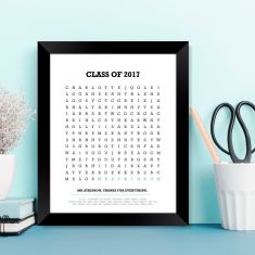 Personalised teacher search word thank you print