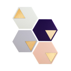 Geo coasters in navy, grey, blush pink & white (set of 4)