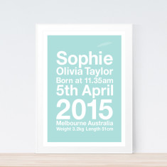 Modern pastel birth print (various colours)