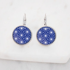 Blue geometric glass dangle drop earrings in silver