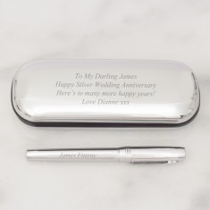 Personalised Silver Plated Pen Case