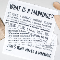 What is a marriage? Poem tea towel