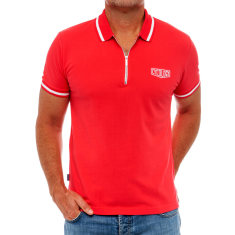 Classic red men's polo with zipper
