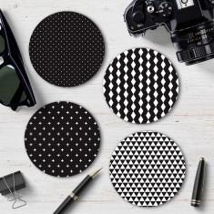 Four Monochrome Geometric Coasters (Pattern 1)