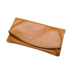 Zarlie Leather Clutch - Tan (Detachable Wristlet & Shoulder Strap)