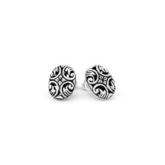 Eeva Sterling Silver Large Oval Stud Earrings