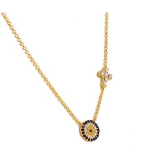 Sparkling evil eye with cross necklace in gold