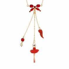 Ballerina and Bow Necklace - Tangerine Coral
