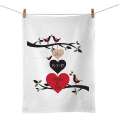 Three Hearts personalised tea towel