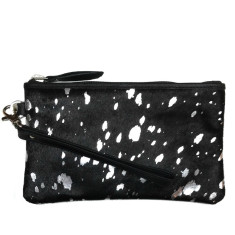 Black hide and silver foil clutch bag